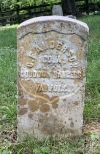 Headstone of Charles F Anderson, a Loudoun Ranger