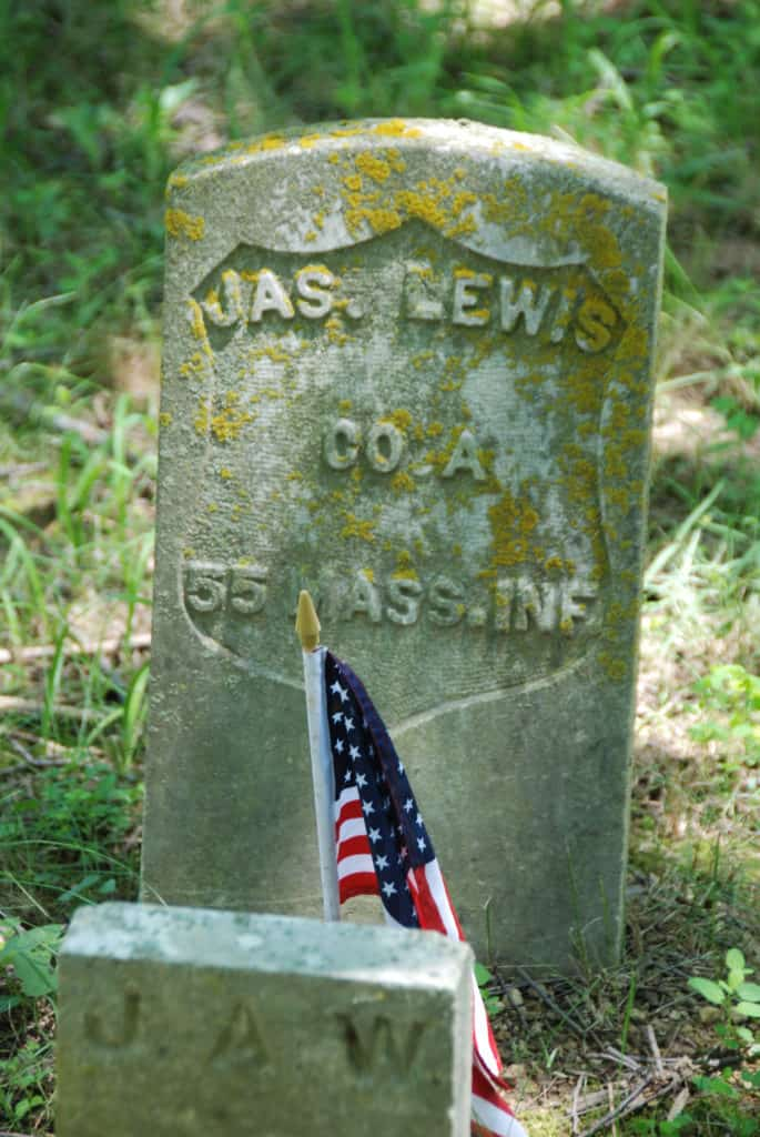 Headstone of James Lewis of Waterford virginia