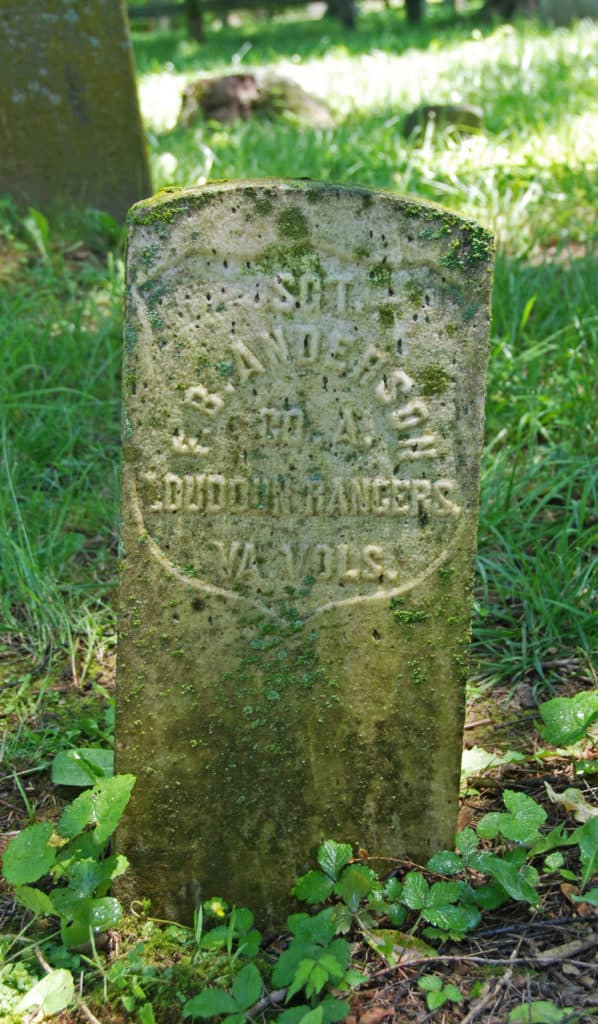 Gravestone of Sgt. Anderson of the Loudoun Rangers in Waterford VA