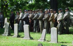 Civil War reenactment at the Waterford cemetery in Loudoun County Virginia
